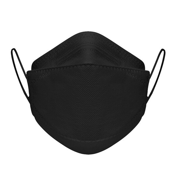 Photo of the front of a black KN95 face mask