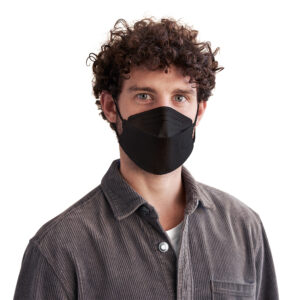 Man wearing black KN95 disposable respirator mask