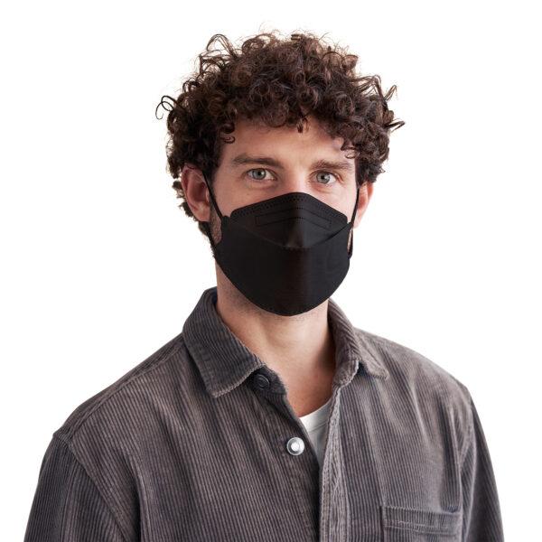 Man wearing black KN95 disposable respirator mask