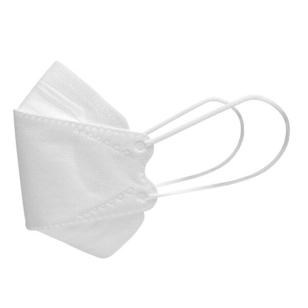 Left side of white KN95 respirator mask